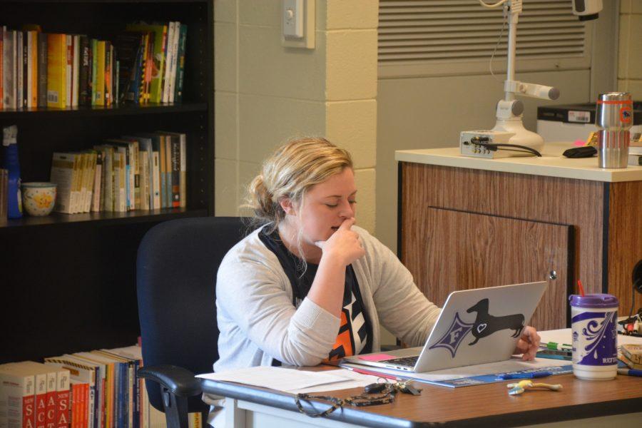 English+teacher+Emily+Hendricks+prepares+for+her+classes.+Hendricks+is+a+first-year+teacher.