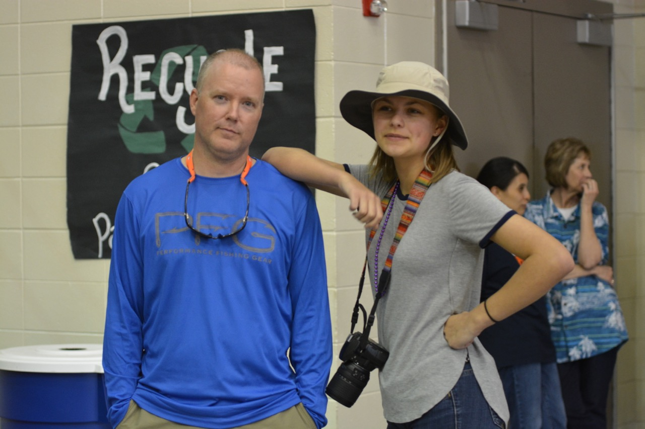 English teacher Alex Hollis and sophomore Emery Pierce.