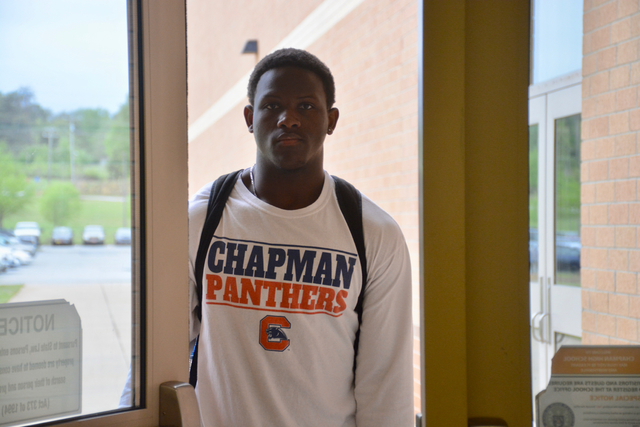 Senior Tashaun Wallace enters Chapman for another day. Wallace has career perfect attendance.