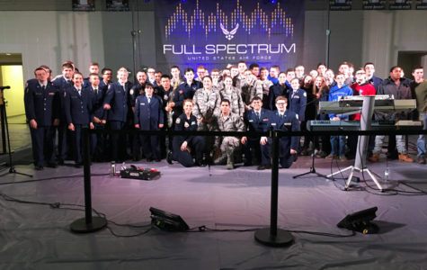 Members of AFJROTC on Wed. Feb. 28 after the Full Spectrum concert at Chapman High School