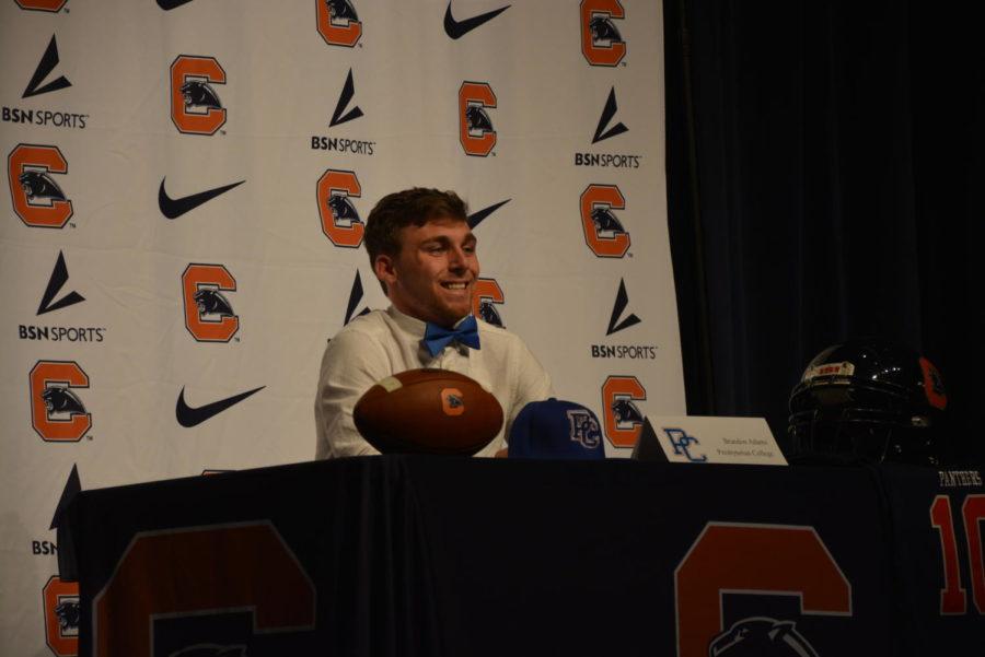 Brandon+Adams+signs+to+Presbyterian+College+to+continue+his+football+career