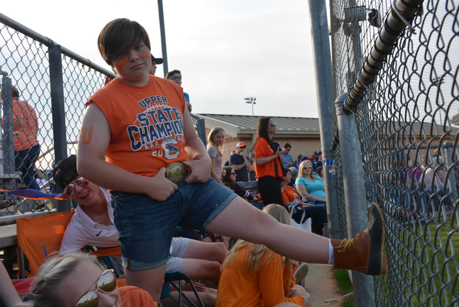 Sophomore+Jacob+Bagwell+in+his+jorts+and+orange+in+support+of+the+Panthers