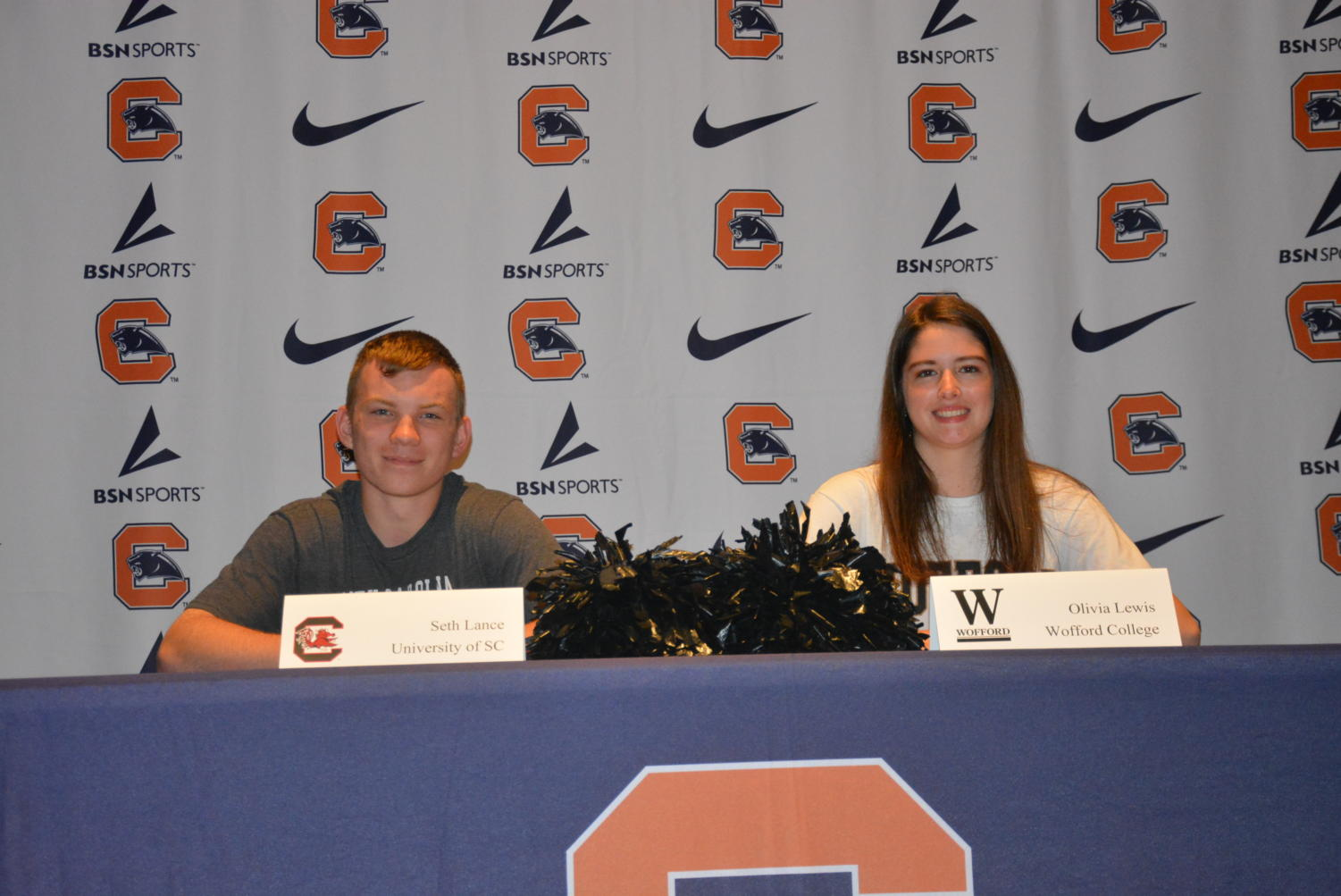 Seth+Lance+and+Olivia+Lewis+signing+to+cheer+in+college