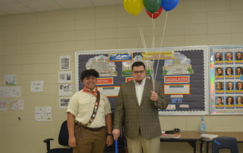 Junior Kristopher Hyder and US History teacher Mr. Cartee as the characters from