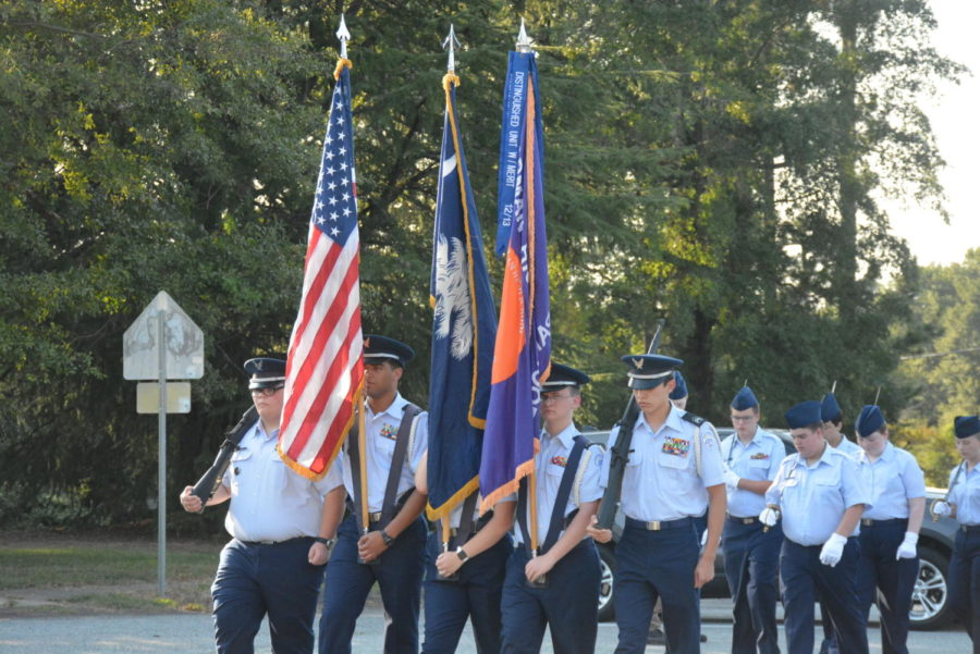 Chapman%27s+AFJROTC+leading+the+parade.+