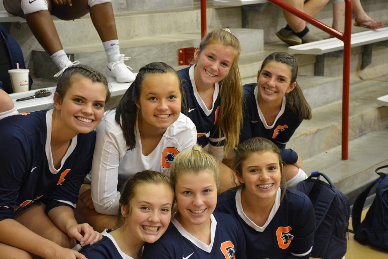 Juniors+Jenna+Moss%2C+Jenna+Calloway%2C+Kailey+Josey%2C+Kylee+Brown+and+Caroline+Grigg+with+sophomores+Emma+Wagner+and+Rylan+Snead.+