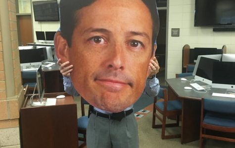 Matt Davis, Chapman's 2020-21 Teacher of the Year, celebrates with his Fathead at an after-school ceremony.