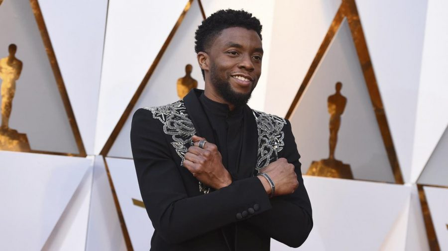Actor Chadwick Boseman on the red carpet at the 2018 Oscars.
