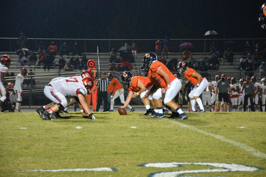 The Panther offensive line waiting to snap the ball.
