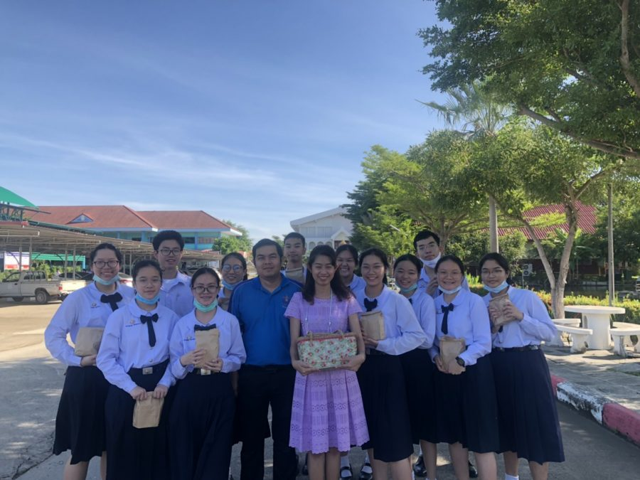 Bam (to the right of the student in the purple dress) poses with her classmates in Thailand. Photo courtesy of Bam.