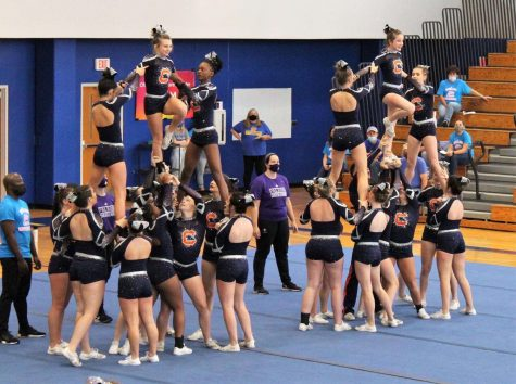 The Chapman competition cheerleading team competes in a competition at Travelers Rest High School last fall.
