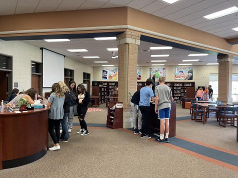 Students participate in media center orientation. The media center is looking forward to more normal operations this year.